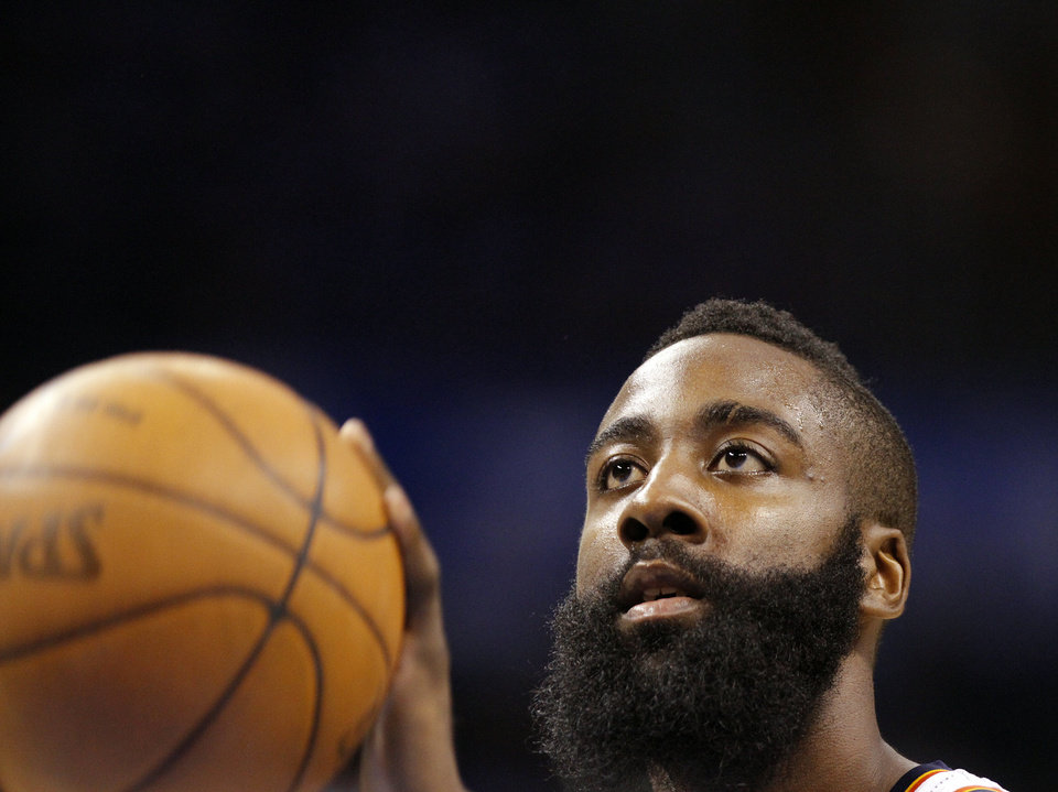 Oklahoma City\'s James Harden shoots a free throw during Game 2 in the second round of the NBA playoffs between the Oklahoma City Thunder and the L.A. Lakers at Chesapeake Energy Arena on Wednesday, May 16, 2012, in Oklahoma City, Oklahoma. Photo by Chris Landsberger, The Oklahoman