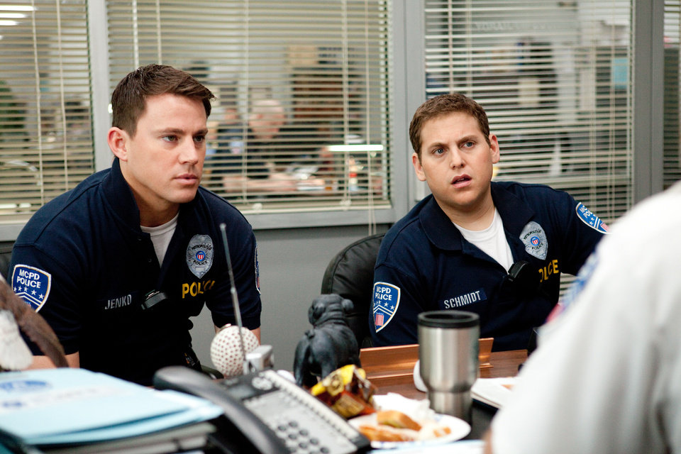 "In this image released by Columbia Pictures, Channing Tatum, left, and Jonah Hill are shown in a scene from the film ""21 Jump Street."" (AP Photo/Columbia Pictures/Sony, Scott Garfield)"