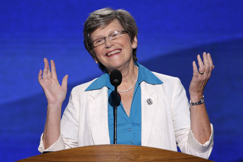 Photo - Sister Simone Campbell, Executive Director of the Roman Catholic Social Justice Organization addresses the Democratic National Convention in Charlotte, N.C., on Wednesday, Sept. 5, 2012. (AP Photo/J. Scott Applewhite)  ORG XMIT: DNC154