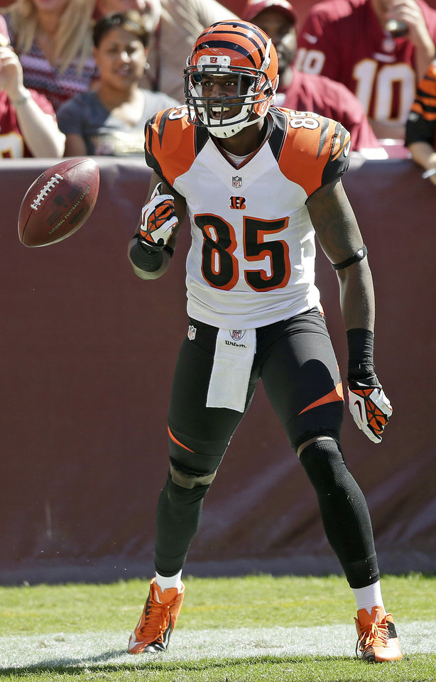 Photo -   Cincinnati Bengals wide receiver Armon Binns celebrates his touchdown during the first half of an NFL football game against the Washington Redskins in Landover, Md., Sunday, Sept. 23, 2012. (AP Photo/Evan Vucci)