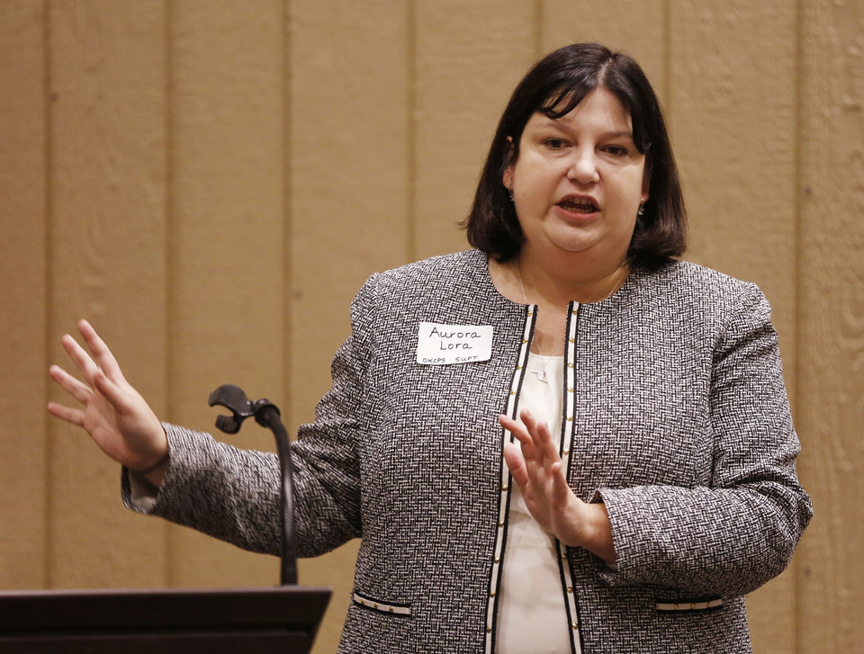 Photo - Oklahoma City Superintendent Aurora Lora speaks Feb. 15 during a legislative breakfast at the state Capitol in Oklahoma City. [Photo by Paul Hellstern, The Oklahoman Archives]