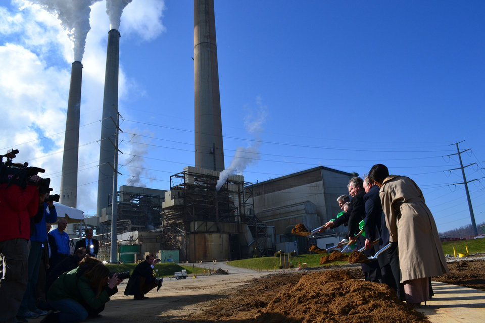 State and local leaders break ground at a Louisville, Ky., power plant on Nov. 29, 2012. The Mill Creek Generating Station is receiving a nearly $1 billion upgrade of its pollution controls that will allow it to continue burning coal as tougher federal air regulations go into effect in 2016. (AP Photo/Dylan Lovan)
