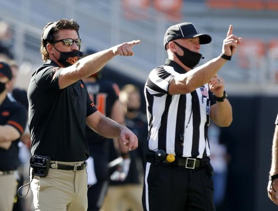 Photo -  With a win Saturday in Bedlam, coach Mike Gundy and Oklahoma State will likely avoid having to beat Oklahoma twice to win the Big 12 title. [Sarah Phipps/The Oklahoman]