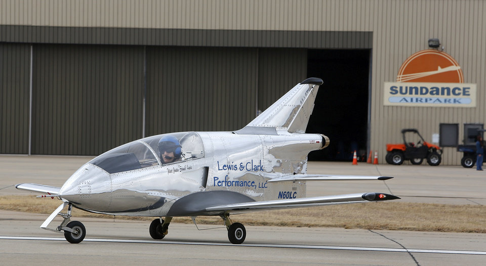 "Justin ""Shmed"" Lewis taxies his Lewis & Clark Performance, LLC, Microjet at Sundance Airport in Northwest Oklahoma City. Photo by Steve Gooch, The Oklahoman"