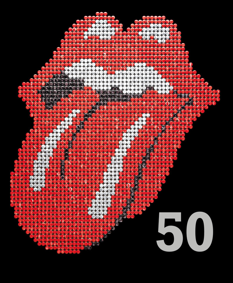 "This book cover image released by Hyperion shows ""The Rolling Stones 50,"" by Mick Jagger, Keith Richards, Charlie Watts and Ronnie Wood. In celebration of the band's 50th anniversary, the book offers stark commentary from the Stones to go with tour photos, candids and close-ups. (AP Photo/Hyperion)"