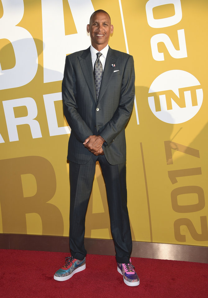 Photo - Reggie Miller arrives at the NBA Awards at Basketball City at Pier 36 on Monday, June 26, 2017, in New York. (Photo by Evan Agostini/Invision/AP)