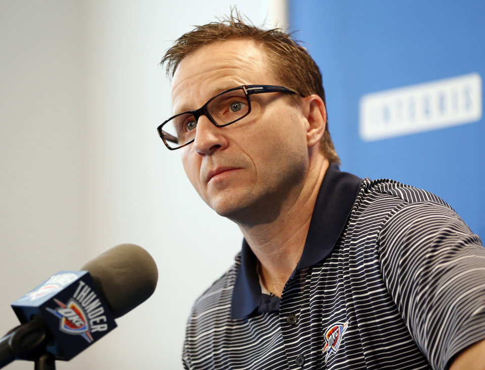 Coach Scott Brooks speaks to the media during exit interviews for the Oklahoma City Thunder at the team\'s practice facility in Oklahoma City, Sunday, June 1, 2014. The Photo by Nate Billings, The Oklahoman