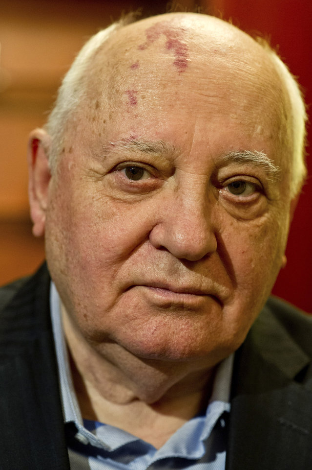 """Photo - FILE - In this Monday, Feb. 24, 2014 file photo former Soviet leader Mikhail Gorbachev, 82, gives an interview to The Associated Press at the International Government Communication Forum, in Sharjah, United Arab Emirates. Gorbachev said in remarks carried Tuesday, March 18, 2014, by online newspaper Slon.ru that the vote offered the Crimean residents the freedom of choice and justly reflected their will. Gorbachev hailed Crimea's referendum that backed joining Russia as a """"happy event."""" (AP Photo/Al Moutasim Al Maskery, file)"""