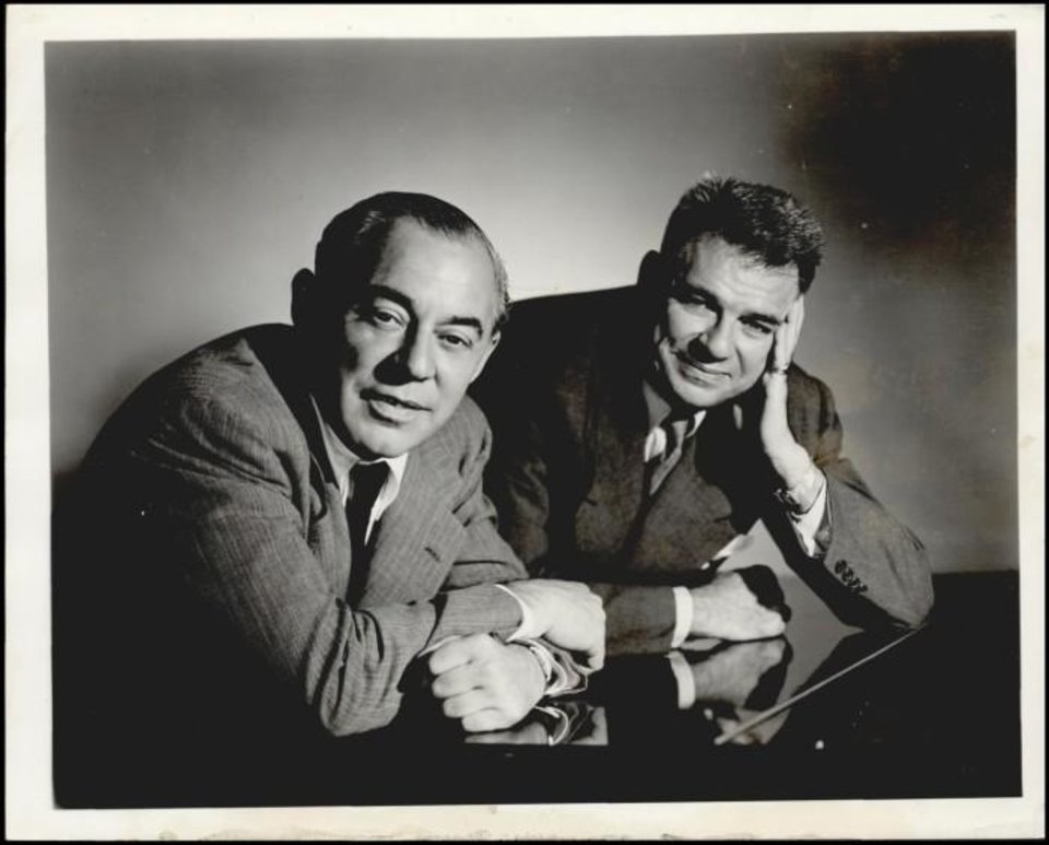 Photo -  Richard Rodgers, composer, and Oscar Hammerstein II, lyricist, 1954. [Oklahoma Historical Society Research Division]