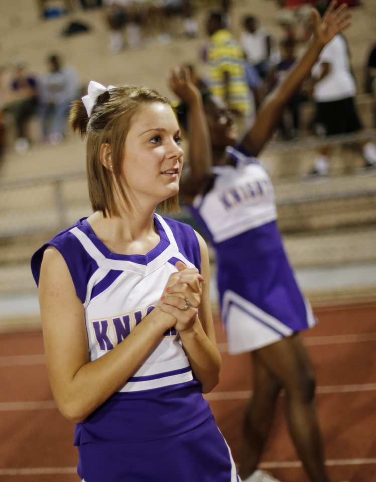 Cheer squad after another touchdown at the Northwest Classen vs. Western Heights high school football game at Taft Stadium Thursday, September 20, 2012. Photo by Doug Hoke, The Oklahoman