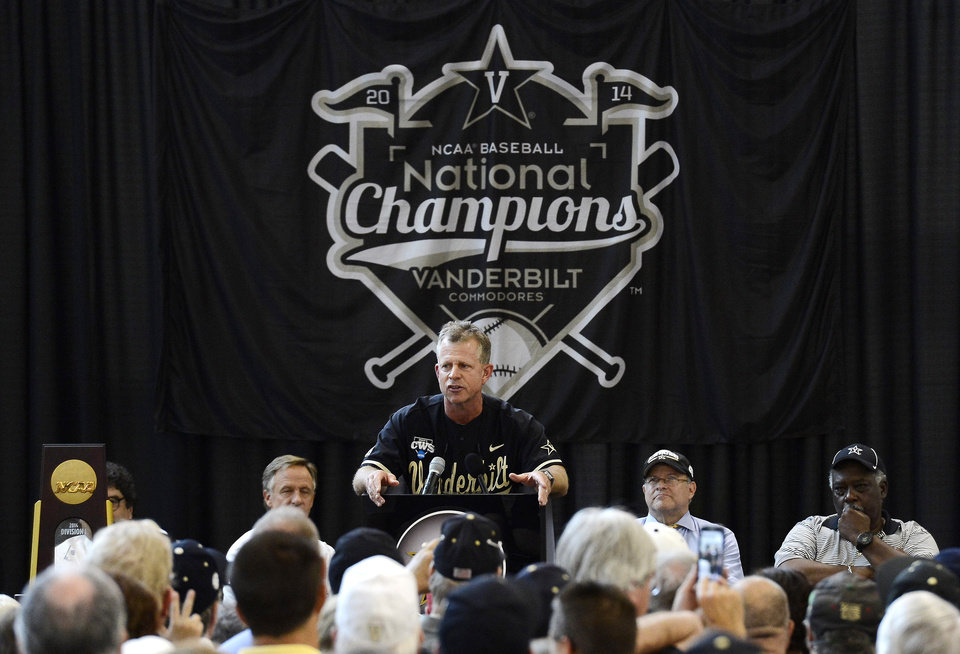 Vanderbilt head coach Tim Corbin speaks during the victory celebration for the team's first baseball NCAA College World Series national championship at Vanderbilt University on Thursday, June 26, 2014, in Nashville, Tenn.  (AP Photo/Mark Zaleski)