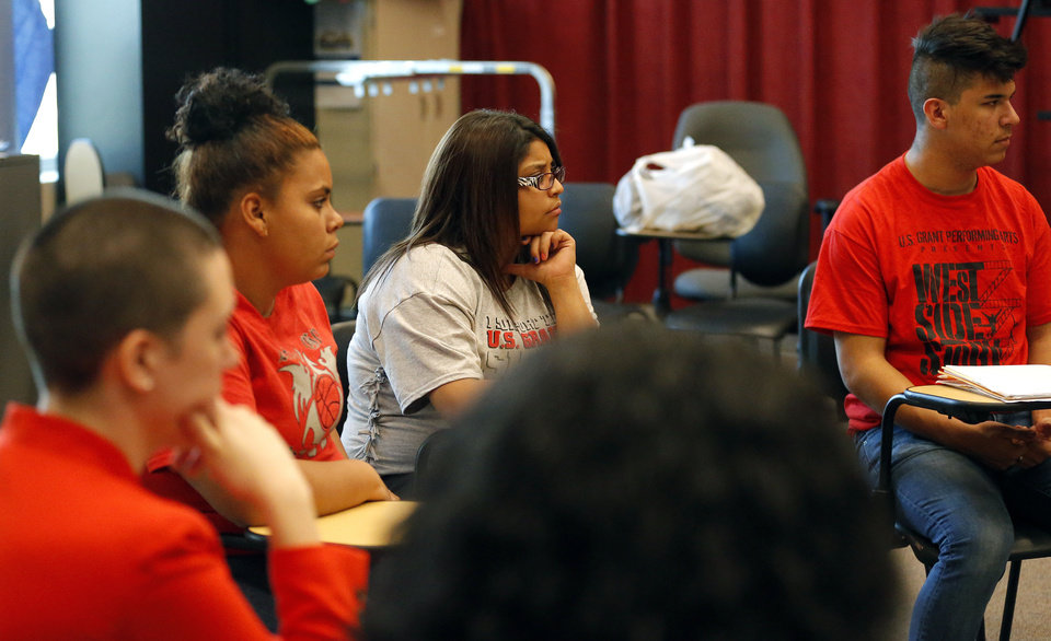 Students take part in a discussion during a gay-straight student group at U.S. Grant High School. PHOTO BY SARAH PHIPPS, THE OKLAHOMAN <strong>SARAH PHIPPS - SARAH PHIPPS</strong>