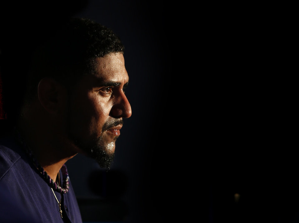 Photo - Colorado Rockies starting pitcher Franklin Morales looks on from the dugout after giving up four runs during the fourth inning of a baseball game against the Washington Nationals on Monday, July 21, 2014, in Denver. (AP Photo/Jack Dempsey)