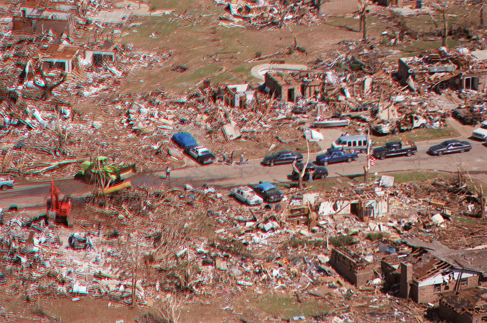 Tornado damage, aerial photos: A neighborhood in Midwest City near the end of the tornado's path.