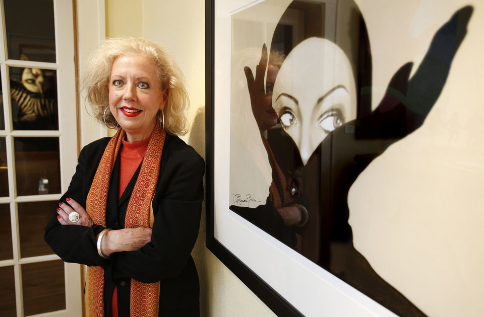 Rosemary Burke poses with her art in Oklahoma City, Tuesday  January  22, 2013. Photo By Steve Gooch, The Oklahoman