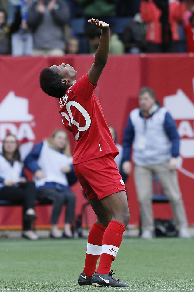 Photo - Canada's defender Kadeisha Buchanan (20) celebrates her goal with against the United States during first half of an exhibition soccer match in Winnipeg, Manitoba, Thursday, May 8, 2014. (AP Photo/The Canadian Press, John Woods)