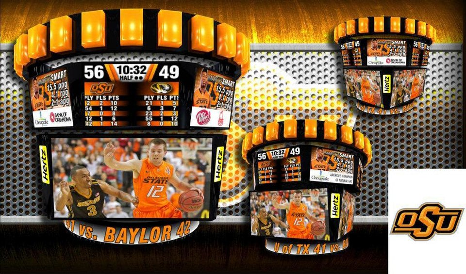 Artists' rendering of the new video board that will be installed inside Gallagher-Iba Arena. PHOTO COURTESY OSU <strong></strong>