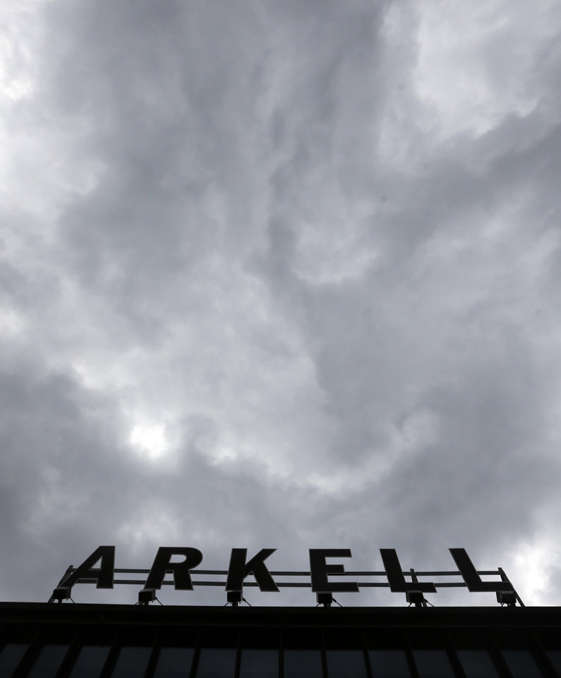 Photo - This May 2, 2014 photo shows the Arkell Museum sign in Canajoharie, N.Y. The Arkell Museum, started in 1928 by Bartlett Arkell, founder of the Beech-Nut food company, is located next door to company's former plant in Canajoharie, population 2,200.  (AP Photo/Mike Groll)
