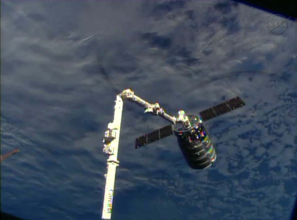 Photo - This framegrabbed image provided by NASA-TV shows the Cygnus spacecraft attached to the Canadarm 2 on the International Space Station Sunday Sept. 29, 2013. At the time both vehicles were travelling over the Indian Ocean. (AP Photo/NASA-TV)