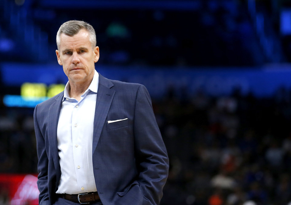 Photo - Oklahoma City head coach Billy Donovan takes a time out during the NBA preseason game between the Oklahoma City Thunder and the New Zealand Breakers at the Chesapeake Energy , Thursday, Oct. 10, 2019. [Sarah Phipps/The Oklahoman]