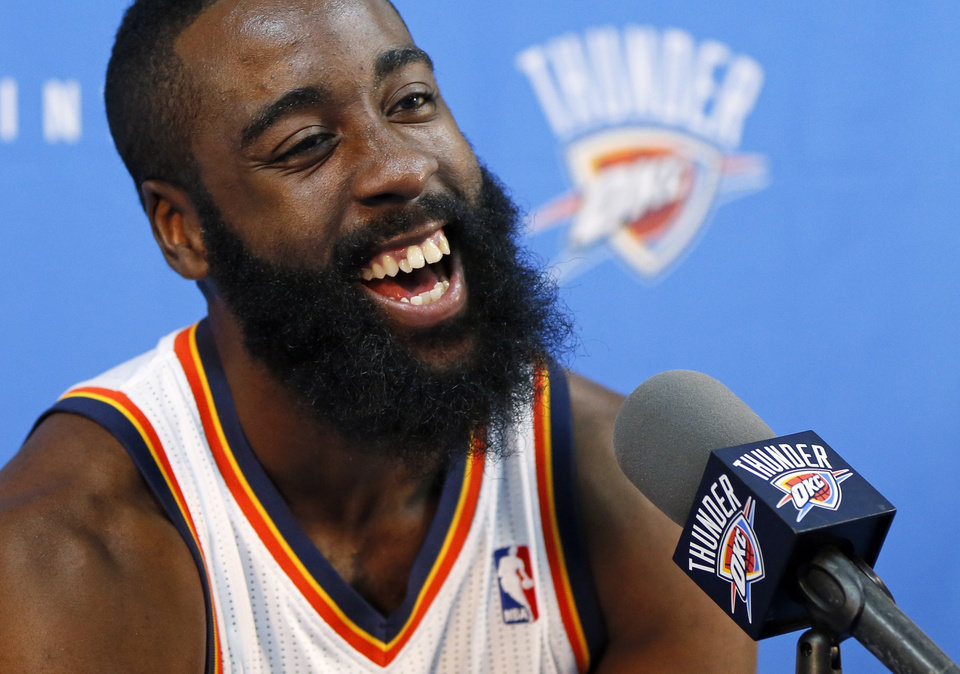 Photo - James Harden laughs at a press conference during media day for the Oklahoma City Thunder NBA basketball team at the Thunder Events Center in Oklahoma City, Monday, Oct. 1, 2012.  Photo by Nate Billings, The Oklahoman