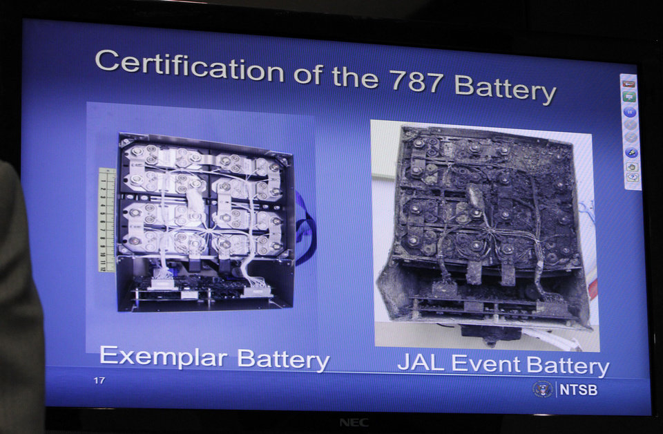 This slide shown on a video screen during a news conference at the National Transportation Safety Board (NTSB) in Washington, Thursday, Feb. 7, 2013, shows a comparison of an exemplar battery with the Japan Airlines Boeing 787 battery. The NTSB provided an update on their investigation into the Jan. 7 fire that occurred on a Japan Airlines Boeing 787 at Logan International Airport in Boston. (AP Photo/Ann Heisenfelt)