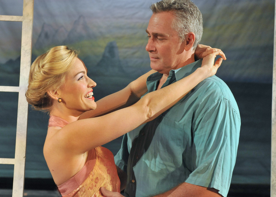 "Photo -  Tiffan Borelli and Christopher Carl star as Nellie Forbush and Emile de Becque in ""South Pacific."" Photo by Wendy Mutz.    WENDYMUTZ"