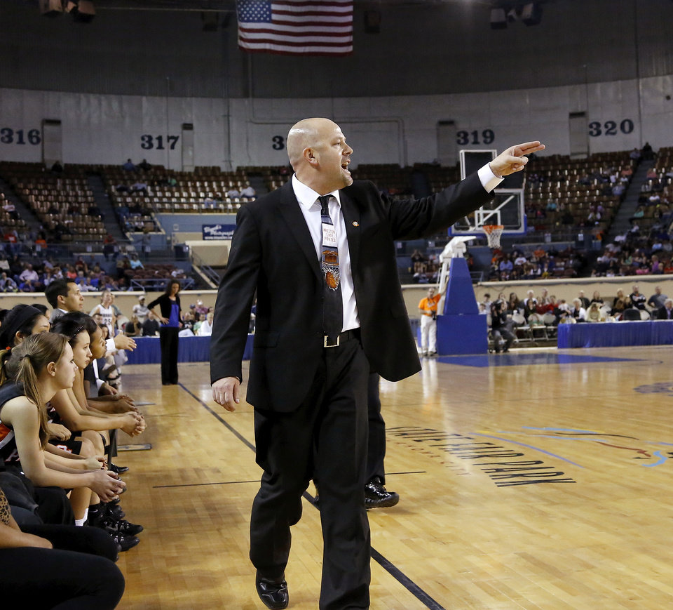 Photo - Preston head coach Jeff Weedn directs players during the Class 2A Girls State Championship game between Preston and Cordell at Jim Norick Arena at State Fair Park  on Saturday, Mar. 15, 2014.  Preston won,  45-41. Photo by Jim Beckel, The Oklahoman