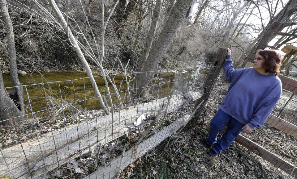 Photo - Regina Bachman looks down at a small creek running behind her home in Loveland, Ohio on Friday, March 21, 2014. Bachman bought the home in September 2013 and was initially told by the bank that flood insurance on the property would be affordable, only to find out after closing that the rates were going to increase over $7,000 more a year with new premiums for the National Flood Insurance Program. (AP Photo/Al Behrman)