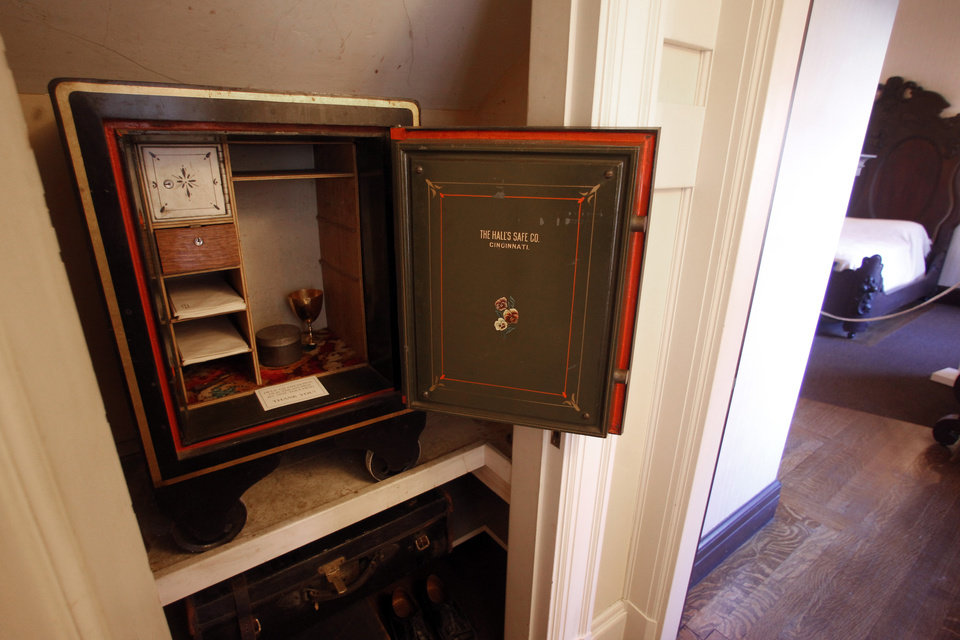 This Monday, Nov. 19, 2012 photo shows the safe in Robert Todd Lincoln's bedroom at the Robert Todd Lincoln mansion Hildene in Manchester, VT. The Georgian Revival home was built in 1905 by Robert Todd Lincoln, the only one of the president's four children to survive to adulthood. (AP Photo/Toby Talbot)