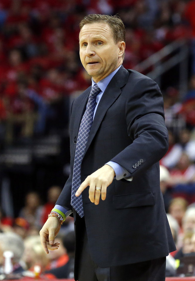 Oklahoma City Thunder head coach Scott Brooks coaches during Game 4 in the first round of the NBA playoffs between the Oklahoma City Thunder and the Houston Rockets at the Toyota Center in Houston, Texas, Monday, April 29, 2013. Photo by Bryan Terry, The Oklahoman