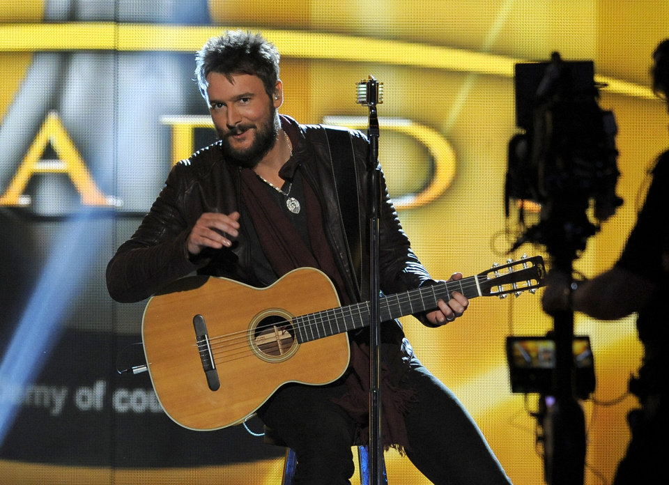 Singer Eric Church performs at the 48th Annual Academy of Country Music Awards at the MGM Grand Garden Arena in Las Vegas on Sunday, April 7, 2013. (Photo by Chris Pizzello/Invision/AP) ORG XMIT: NVPM221