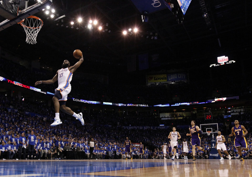Oklahoma City\'s James Harden (13) dunks the ball during Game 1 in the second round of the NBA playoffs between the Oklahoma City Thunder and the L.A. Lakers at Chesapeake Energy Arena in Oklahoma City, Monday, May 14, 2012. Photo by Sarah Phipps, The Oklahoman