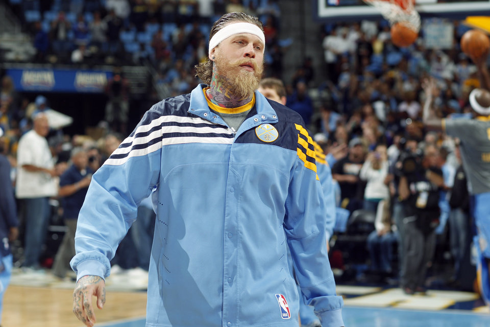 Photo -   In this photo taken, Sunday, May 6, 2012, Denver Nuggets forward Chris Andersen warms up before an NBA basketball game against the Los Angeles Lakers in Denver. Douglas County, Colo., Sheriff's Department deputies searched the Larkspur, Colo., home of Andersen on Thursday, May 10, 2012, as part of an investigation being conducted by the department's Internet Crimes Against Children unit. While Douglas County Sheriff's Department officials have not arrested Andersen or issued a warrant for his arrest, the Nuggets have announced that he will not suit up for Thursday night's game against the Lakers. (AP Photo/David Zalubowski)