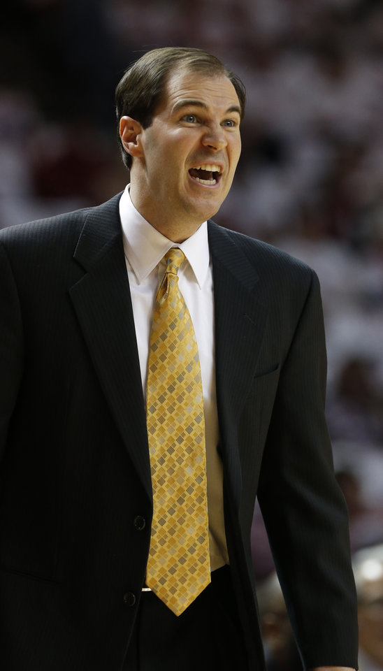 Baylor Bear head coach Scott Drew reacts as the University of Oklahoma Sooners (OU) men play the Baylor University Bears (BU) in NCAA, college basketball at The Lloyd Noble Center on Saturday, Feb. 23, 2013  in Norman, Okla. Photo by Steve Sisney, The Oklahoman