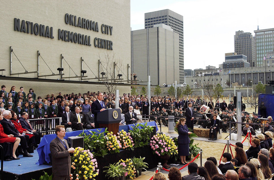 Photo - President George W. Bush speaks at the dedication ceremony. Photo by Jim Beckel