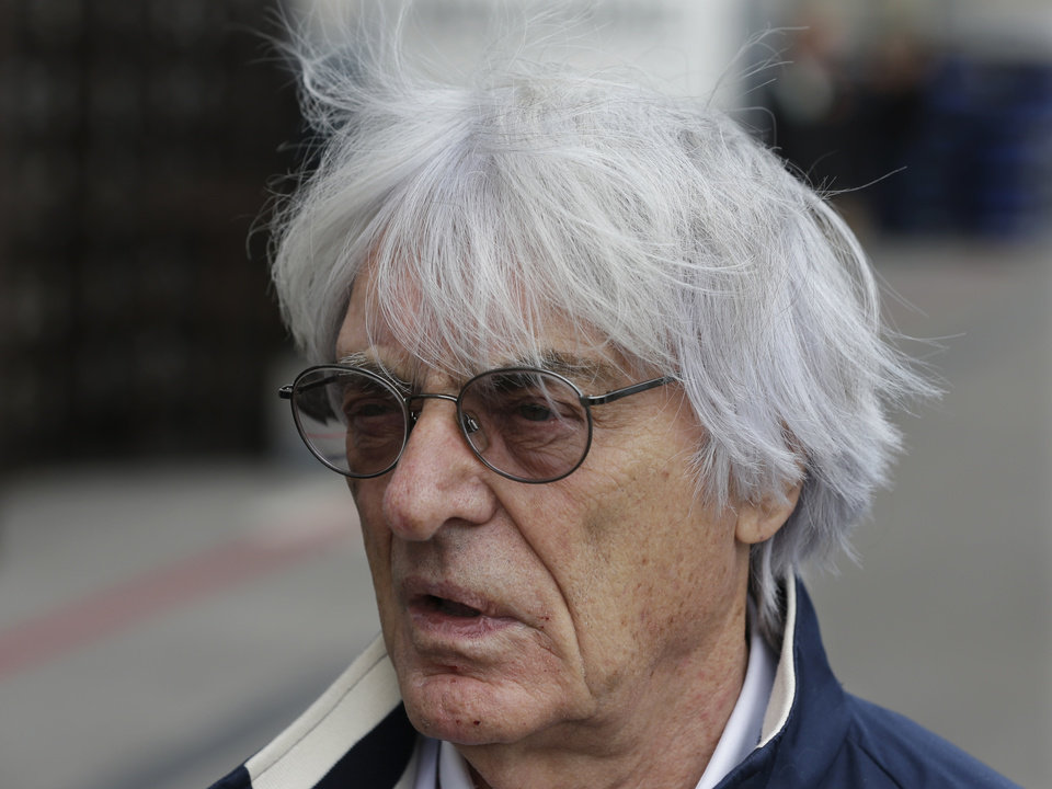 Photo - FILE - In this Nov. 14, 2013 file picture  President and CEO of Formula One Management Bernie Ecclestone arrives at the Circuit of the Americas for the Formula One U.S. Grand Prix auto race, in Austin, Texas. Ecclestone goes on trial in Munich on Thursday, April 24, 2014, on bribery charges that could put him in prison for up to 10 years if convicted. The trial could spell the end of the 83-year-old Ecclestone's career in the racing series that has become a lucrative business under his guidance. (AP Photo/Darron Cummings, File)