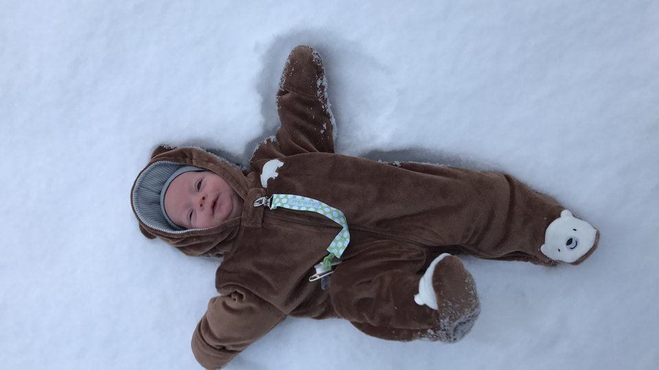 Photo - 7 weeks old and already making snow angels!  by Jacquelynn Payne #newsoknow #Weather