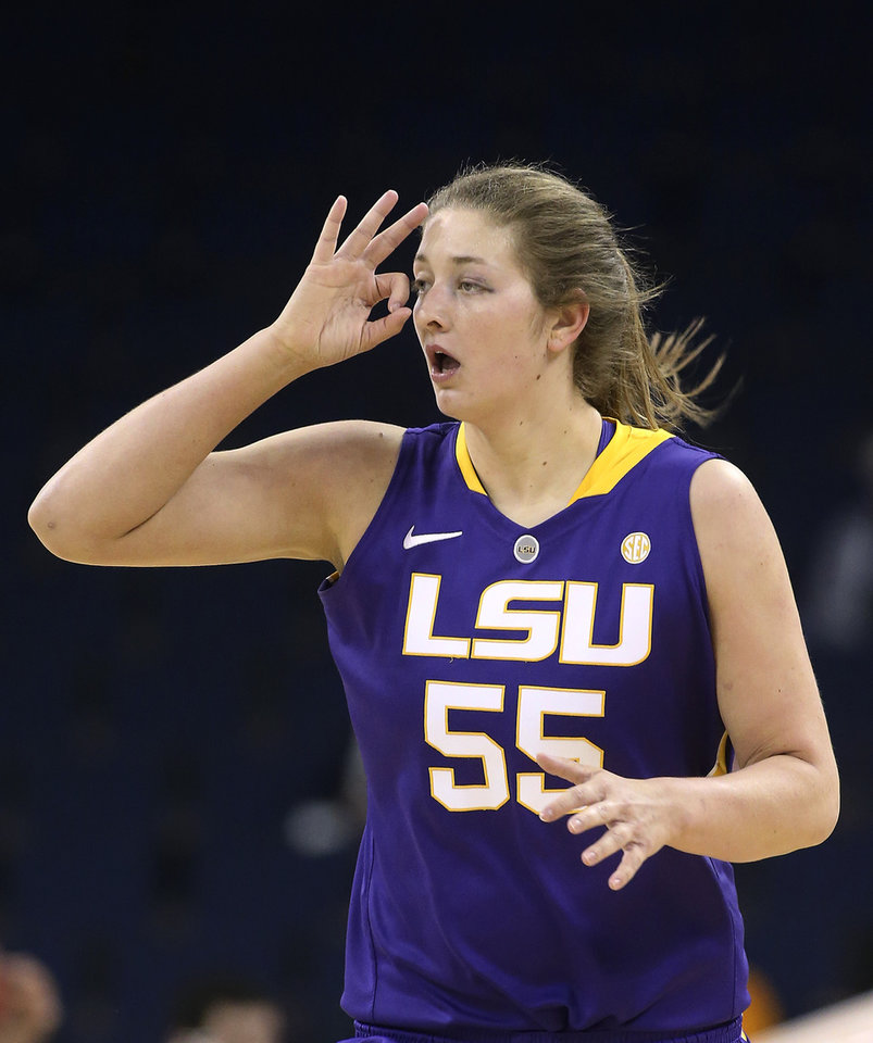 Photo - LSU forward Theresa Plaisance gestures after hitting a 3-point basket against Tennessee during the first half of an NCAA college basketball game in the quarterfinals of the Southeastern Conference women's tournament, Friday, March 7, 2014, in Duluth, Ga. (AP Photo/Jason Getz)
