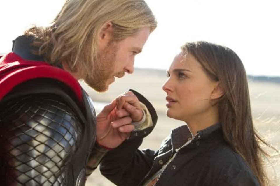 Left to right: Thor (Chris Hemsworth) and Jane Foster ( Natalie Portman) in THOR, from Paramount Pictures and Marvel Entertainment. Photo credit: Zade Rosenthal / Marvel Studios