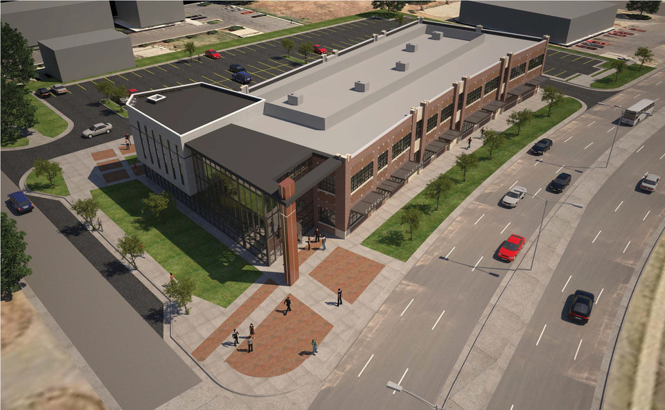 Photo -  The future home of Catholic Charities of Oklahoma City at NW 12 and Classen is shown in this rendering. Rendering provided by Mass Architects