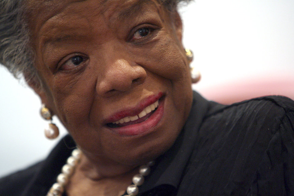 Photo - FILE - In this March 4, 2008 file photo, American poet and noevlist Maya Angelou smiles during an interview with The Associated Press in New York. Angelou has died, Wake Forest University said Wednesday, May 28, 2014.  She was 86. (AP Photo/Mary Altaffer, File)