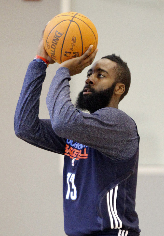 Oklahoma City's James Harden takes a shot during the Thunder's practice in Oklahoma City, Sunday, Dec. 11, 2011. Photo by Sarah Phipps, The Oklahoman
