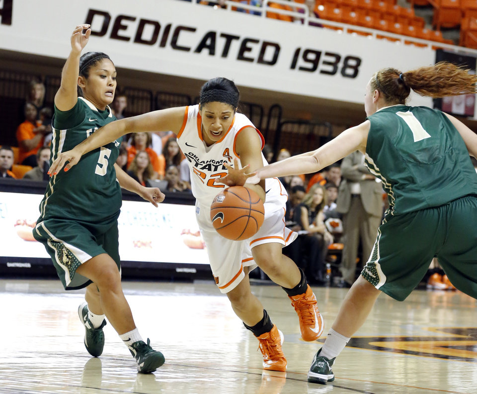 Oklahoma State's Brittney Martin (22) tries to get by Cal Poly's Ariana Elegado (5) and Kayla Griffin (1) during the women's college basketball game between Oklahoma State and Cal Poly at  Gallagher-Iba Arena in Stillwater, Okla., Friday, Nov. 9, 2012. Photo by Sarah Phipps, The Oklahoman