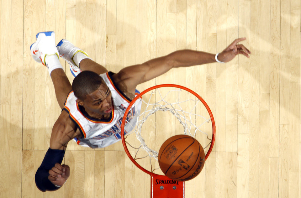 Oklahoma City\'s Russell Westbrook (0) makes a basket during the NBA basketball game between the Oklahoma City Thunder and the Phoenix Suns, Sunday, Dec. 19, 2010, at the Oklahoma City Arena. Photo by Sarah Phipps, The Oklahoman