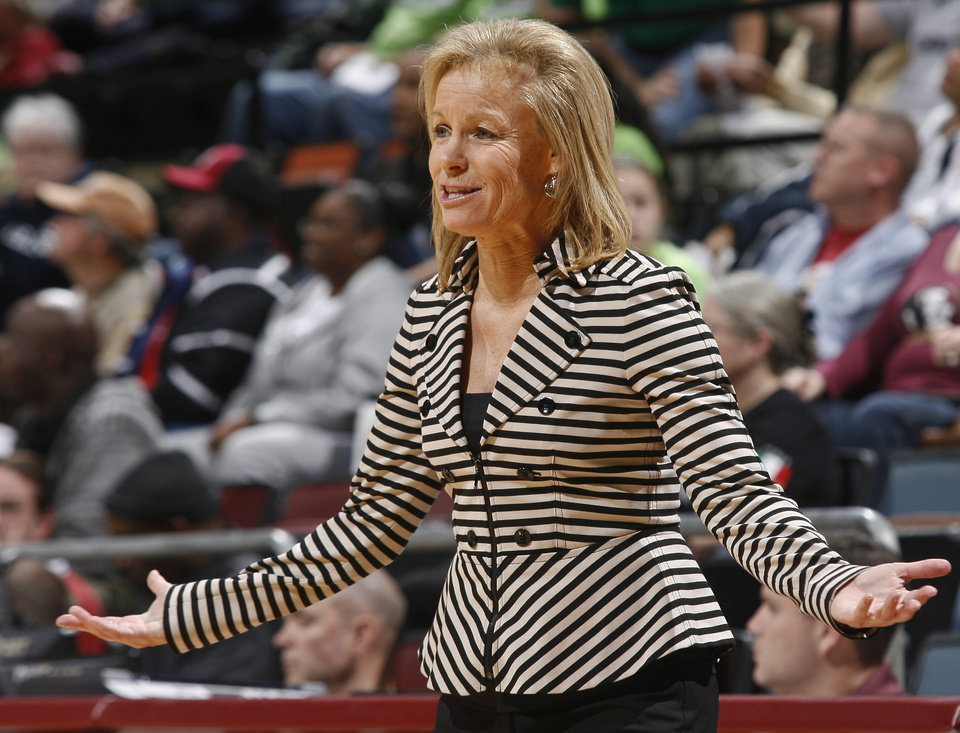 Photo - Florida State head coach Sue Semrau pleads her case to a referee in the first half of an NCAA college basketball game against  Notre Dame, Thursday, Feb. 6, 2014, in Tallahassee, Fla. (AP Photo/Phil Sears)