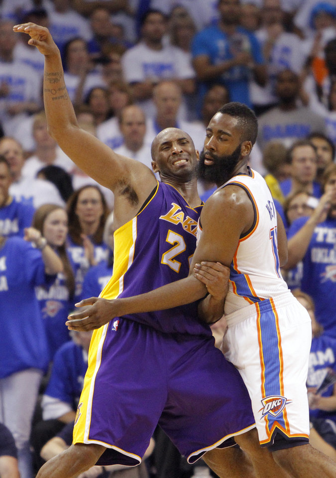 Photo - Los Angeles' Kobe Bryant and Oklahoma City's James Harden battle for position during Game 2 in the second round of the NBA playoffs between the Oklahoma City Thunder and the L.A. Lakers at Chesapeake Energy Arena on Wednesday,  May 16, 2012, in Oklahoma City, Oklahoma. Photo by Chris Landsberger, The Oklahoman