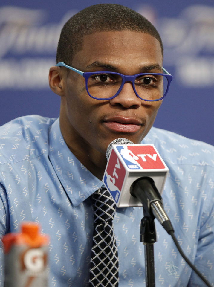 Photo - Oklahoma City's  Russell Westbrook speaks during a press conference after Game 2 of the NBA Finals between the Oklahoma City Thunder and the Miami Heat at Chesapeake Energy Arena in Oklahoma City, Thursday, June 14, 2012. Photo by Bryan Terry, The Oklahoman