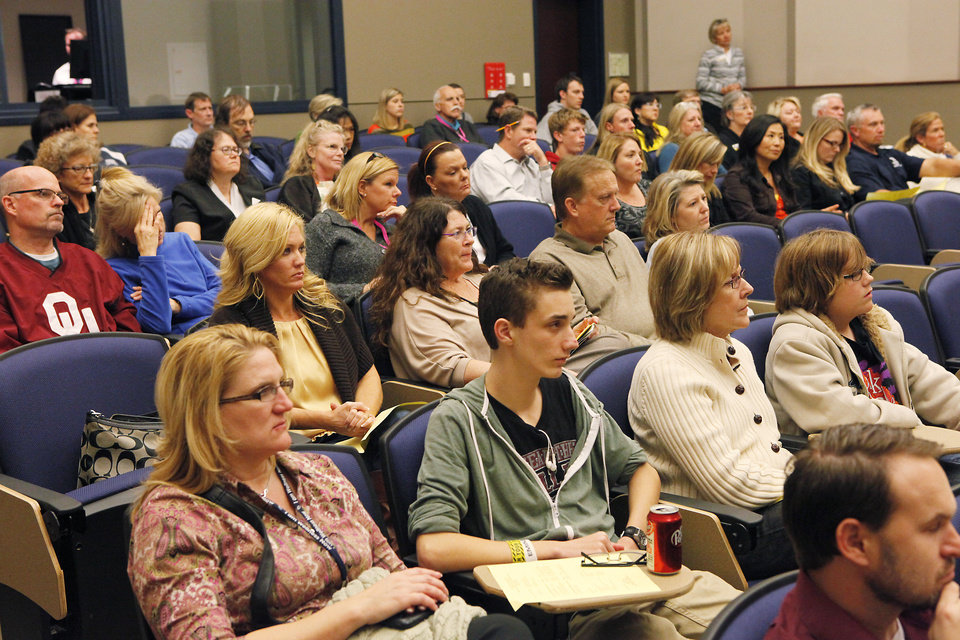 The audience listens to speakers Monday during the Edmond Suicide Prevention Summit  at the University of Central Oklahoma. Photo by David McDaniel, The Oklahoman