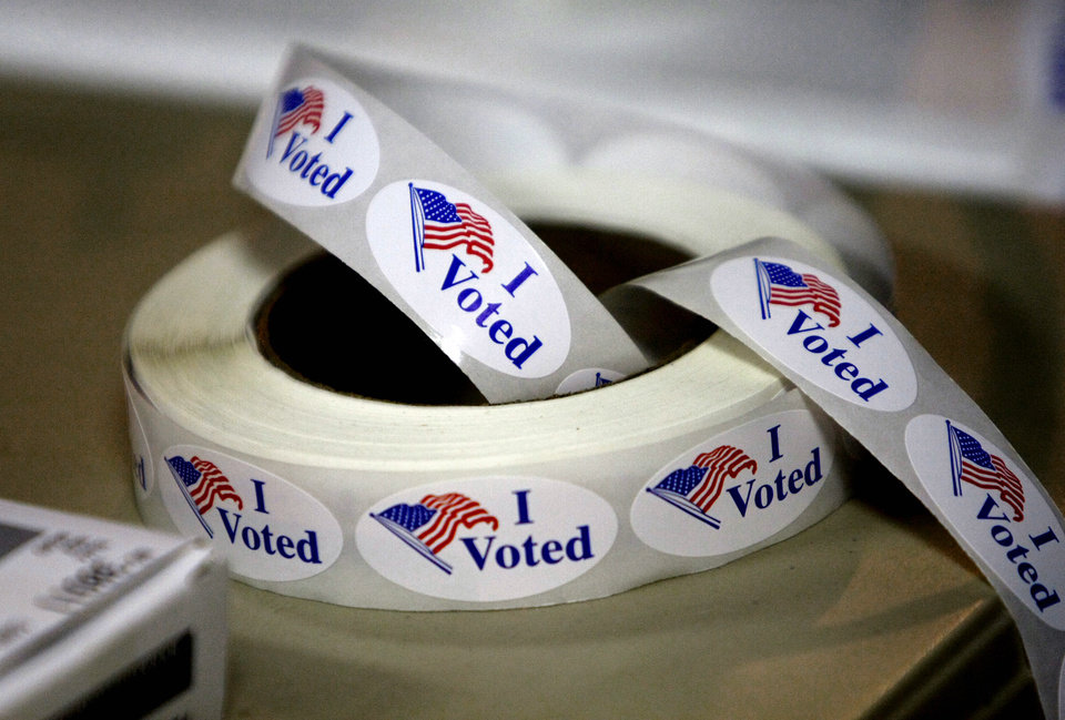 Photo - I Voted stickers at the Presidential election polling location at Canadian Hills Church of the Nazarene on Tuesday, Nov. 4, 2008, in Yukon, Okla.   BY CHRIS LANDSBERGER, THE OKLAHOMAN